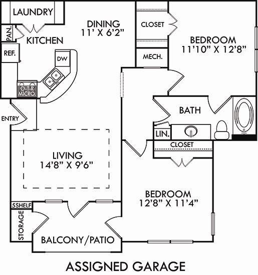 The Torino with Assigned Garage. 2 bedroom apartment. Kitchen with bartop open to living/dining rooms. 1 full bathroom. Walk-in closet. Patio/balcony.