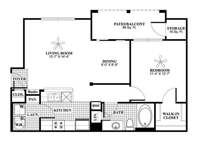 One bedroom one bathroom A2 Floorplan at Lakeland Estates Apartment Homes in Stafford, TX