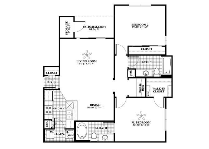 Two bedroom two bathroom B1 Floorplan at Lakeland Estates Apartment Homes in Stafford, TX