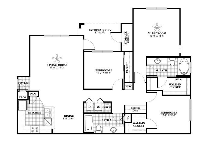 Three bedroom two bathroom C1 Floorplan at Lakeland Estates Apartment Homes in Stafford, TX