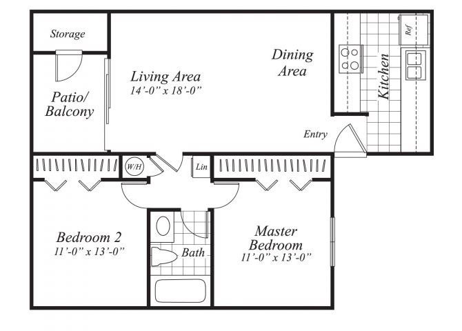 Two bedroom one bathroom B1 floor plan at Canyon Rim Apartments in San Diego, CA