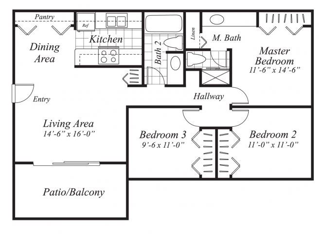 Three bedroom two bathroom C1 floor plan at Canyon Rim Apartments in San Diego, CA