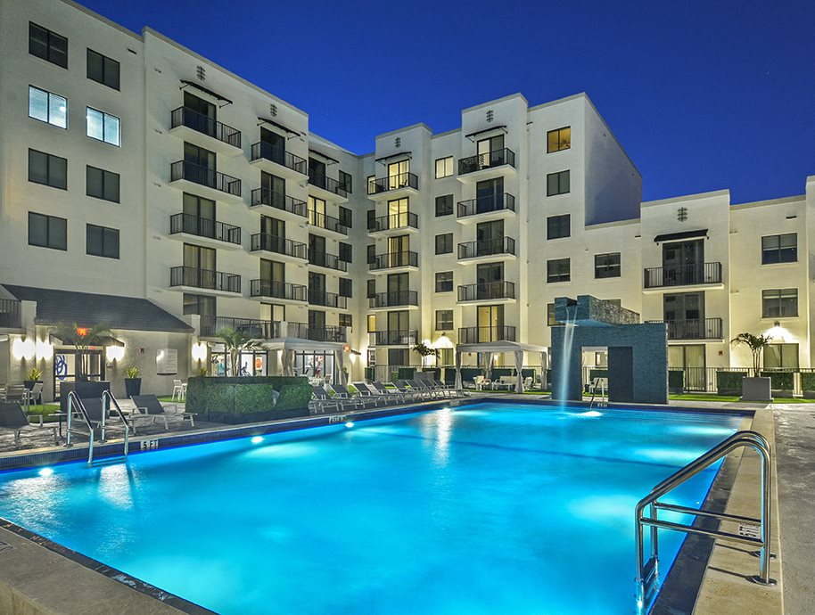 resort style swimming pool | District West Gables Apartments in West Miami, Florida