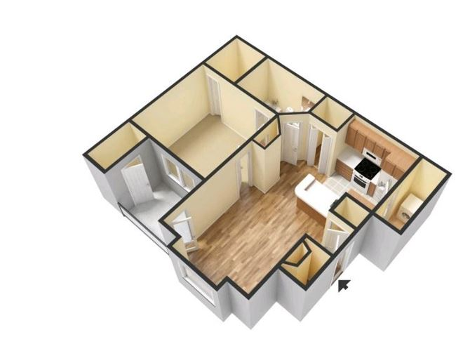 Wesley Place - 1A Hampton Floorplan - 1 Bedroom, 1 Bathroom