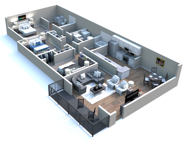 Churchill Commons Apartments in Aiken, South Carolina 3 bedroom 2 bathroom Belmont floor plan