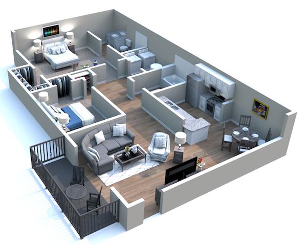 Churchill Commons Apartments in Aiken, South Carolina 2 bedroom 2 bathroom derby floor plan