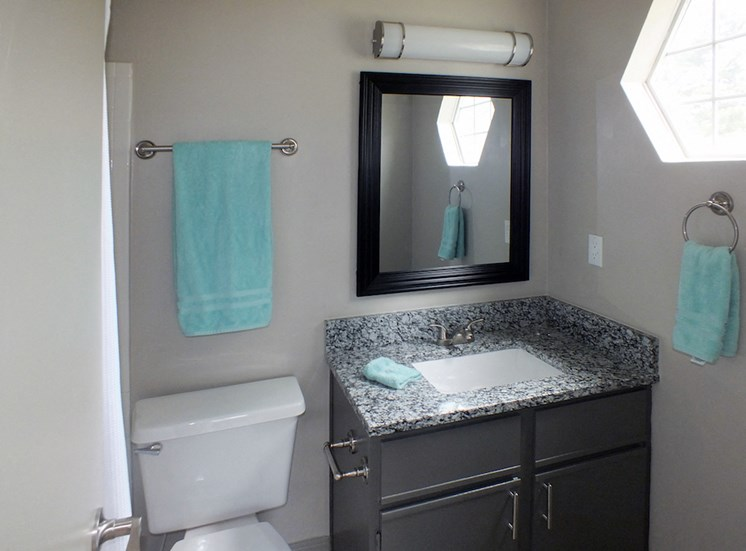 Viera Apartments in Aiken, SC 29803 modern bathroom with granite countertops