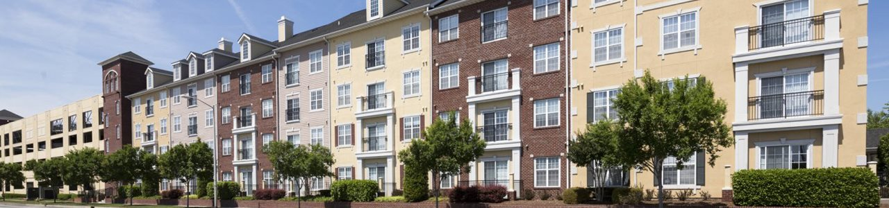 Panoramic view of the outside of the Alexander at Ghent apartments at Norfolk VA