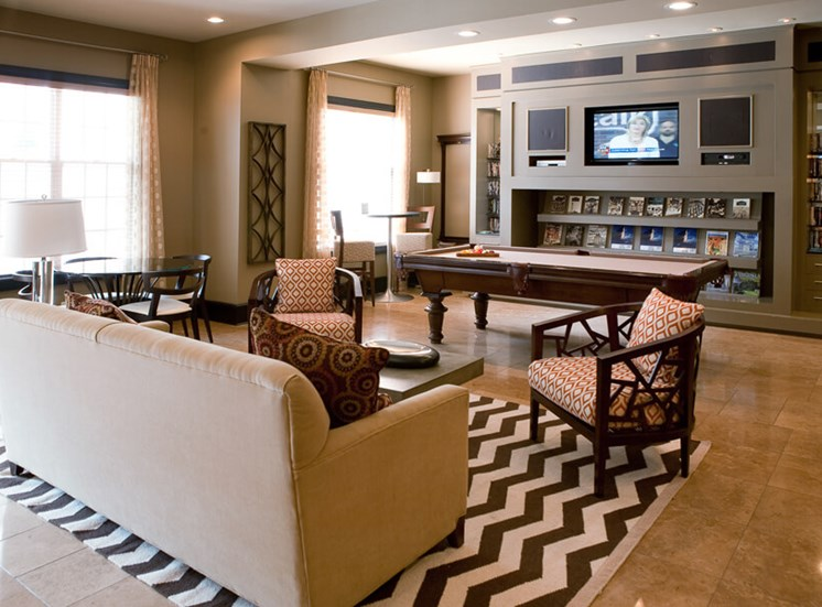 Clubhouse with entertainment area at The Alexander at Ghent in Norfolk, VA