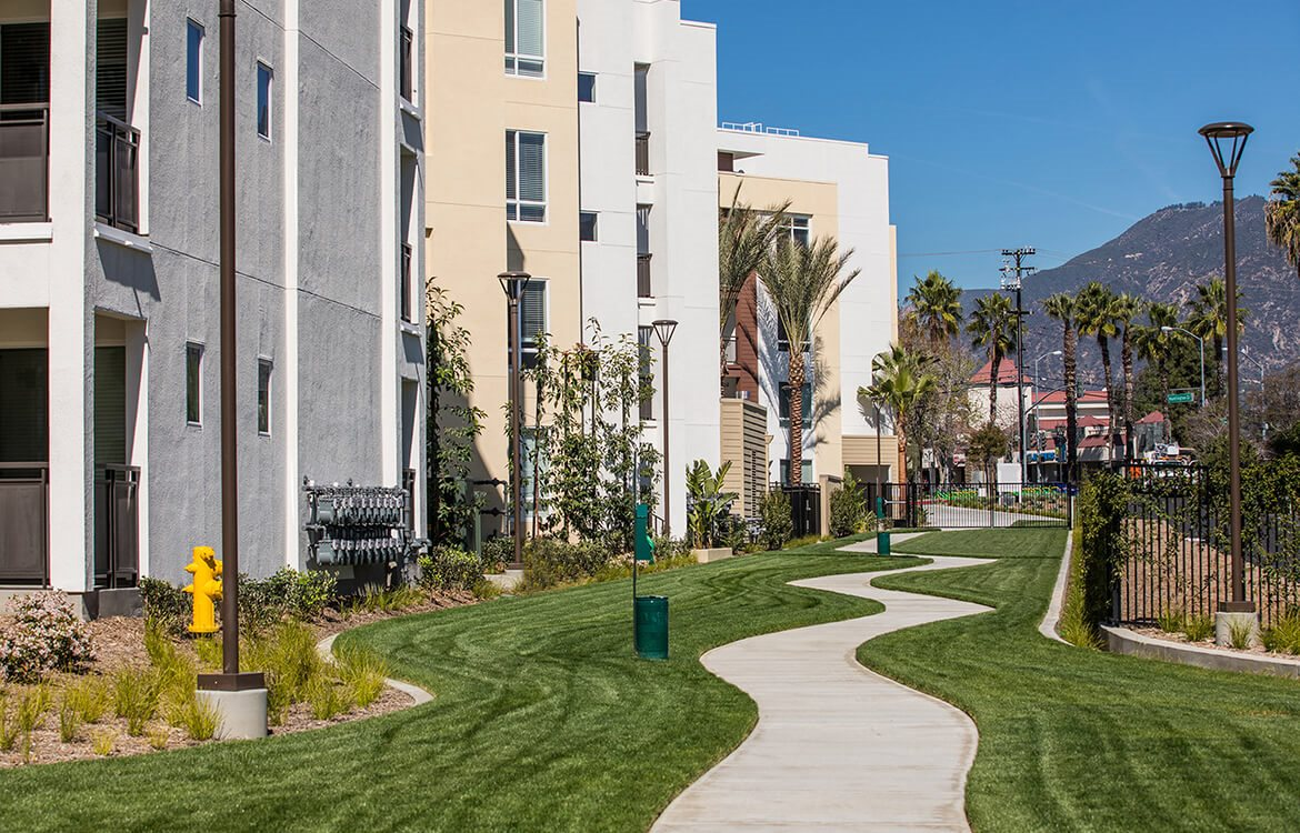 Lush green grounds at Areum Apartments in Monrovia CA