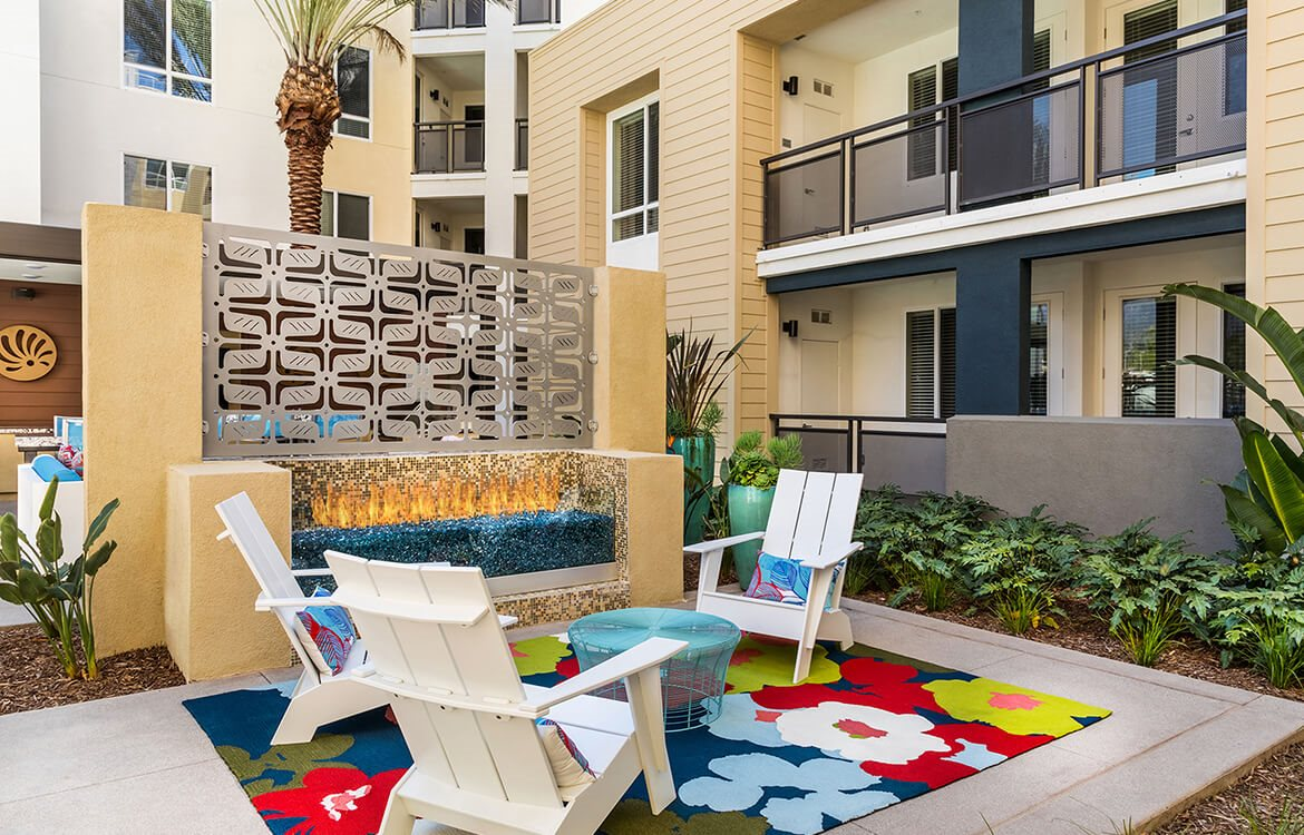 Fireside lounge at Areum Apartments in Monrovia CA