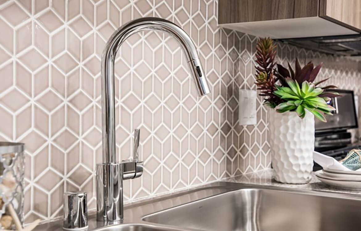 Mosiac patterned tile for the backsplash at Areum Apartments in Monrovia CA