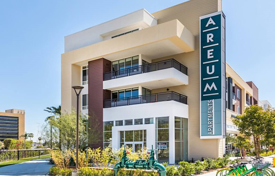 Retail cafe space at Areum Apartments in Monrovia CA
