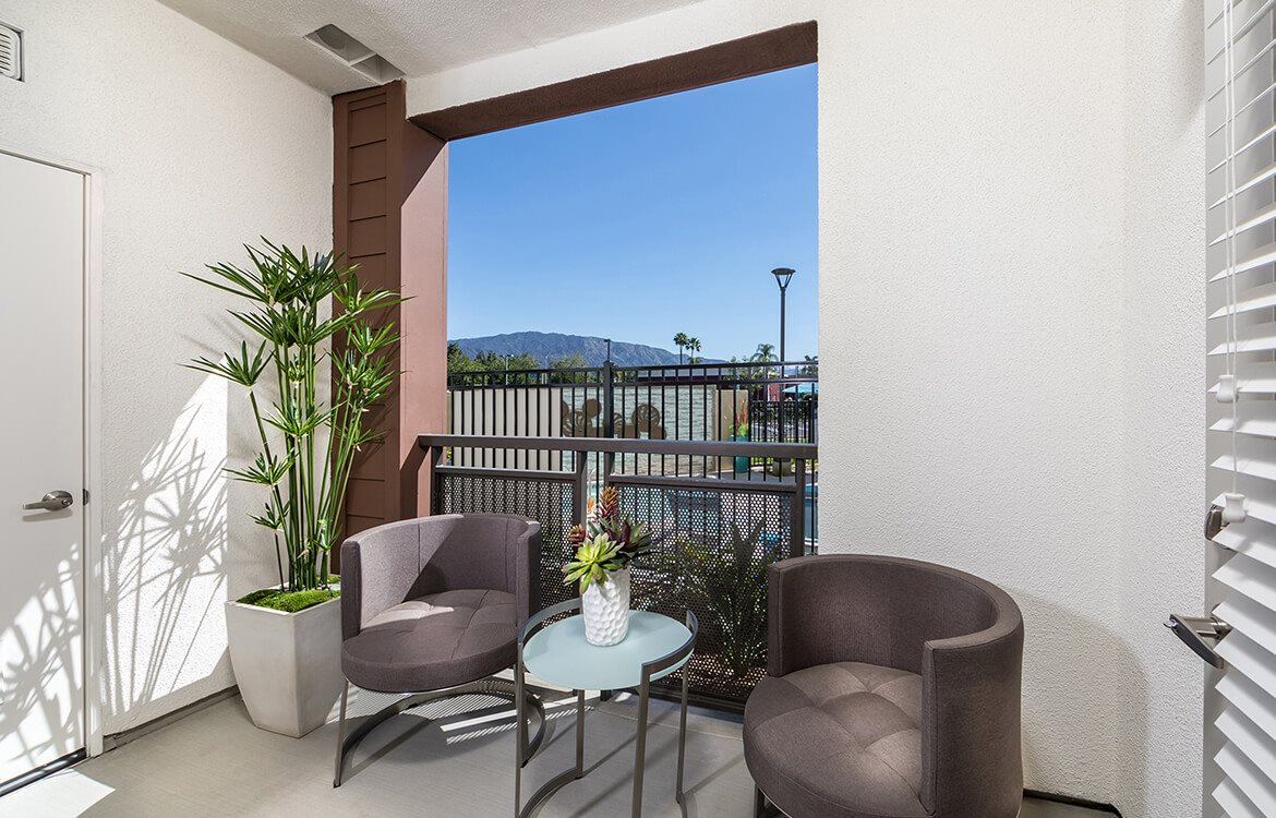 private covered patio at Areum Apartments in Monrovia CA