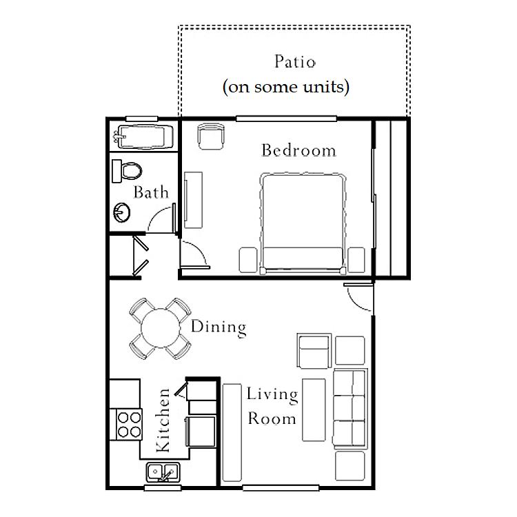 1 Bedroom, 1 Bath Terraza, Patio Floor Plan 5