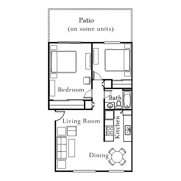 2 Bedrooms, 1 Bath Terraza, Ground Floor Floor Plan 4