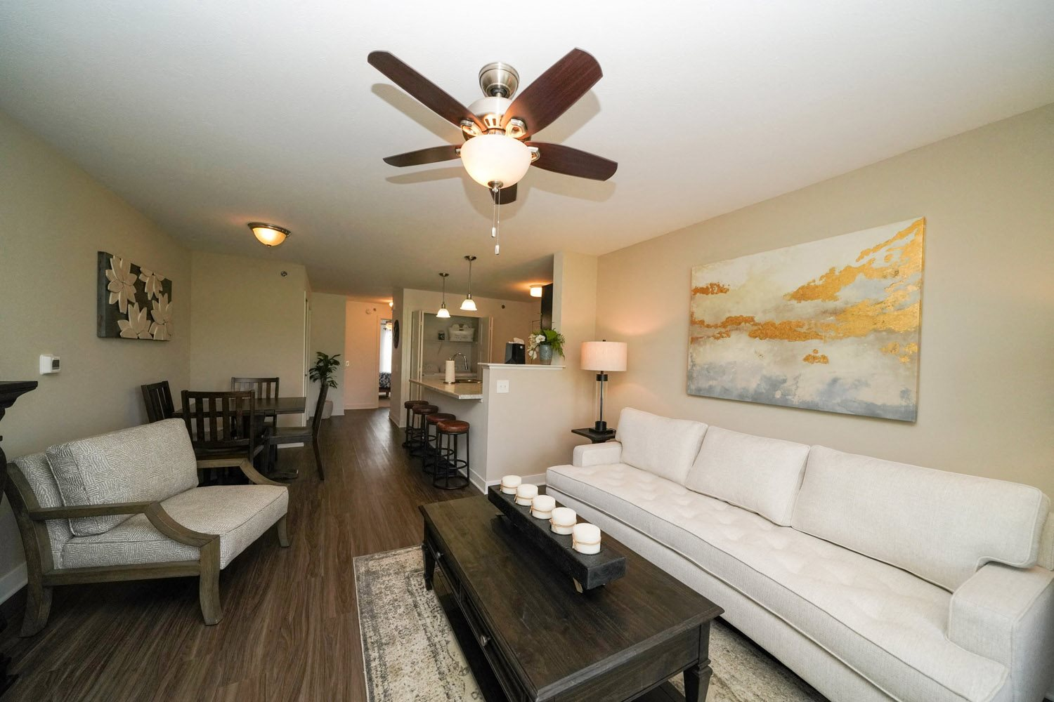 Ceiling Fans in Living Spaces at Copper Creek Apartment Homes, KS 67101