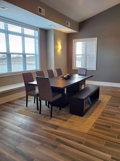 Community Building Dining Area at Strathmore Apartment Homes in West Des Moines, Iowa