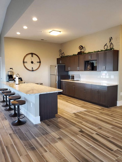 Community Building Kitchen at Strathmore Apartment Homes in West Des Moines, Iowa