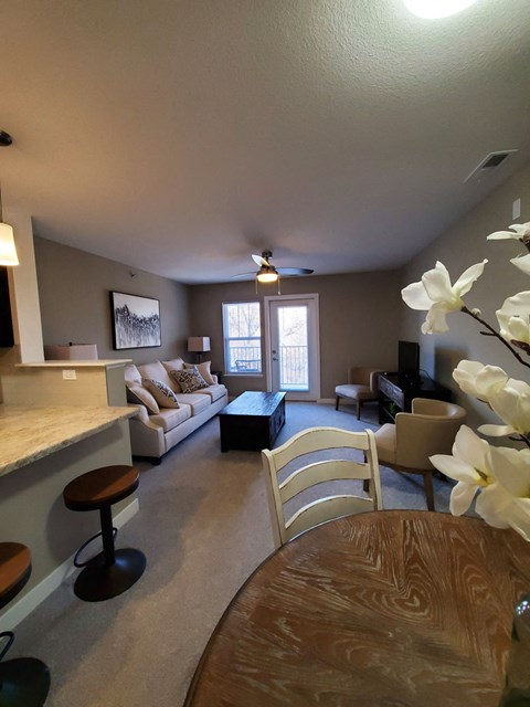 Living and Dining Area at Strathmore Apartment Homes, West Des Moines, IA, 50266