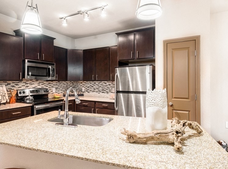 Model apartment home kitchen and island