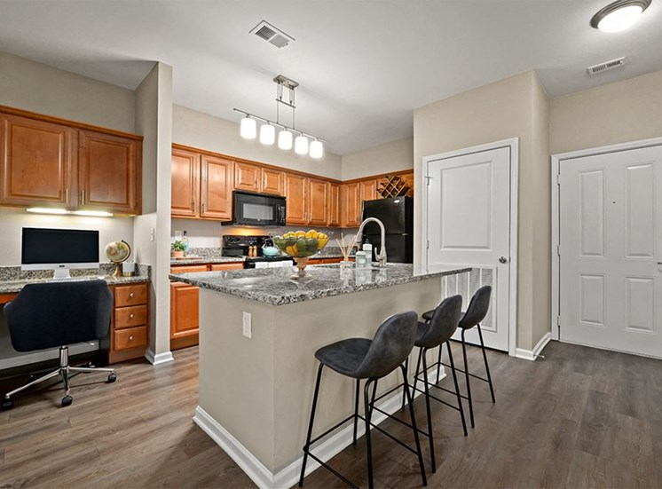 Riverstone Apartments Apartments in Kansas City Apartment Kitchen, Breakfast Bar, and Built-in Office