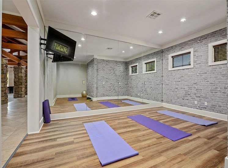 Riverstone Apartments Apartments in Kansas City Resident Yoga Studio with Television