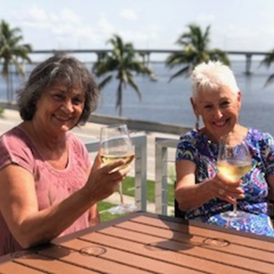 Enjoying a drink on th epastio at Campo Felice Fort Myers