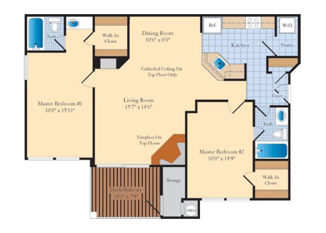 B1B 2 Bed 2 Bath Floor Plan at The Fields at Cascades, Virginia