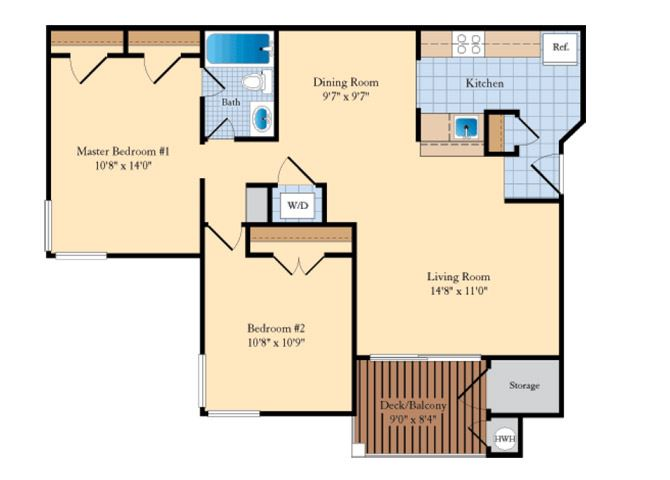 B2M 2 Bed 1 Bath Floor Plan at The Fields at Cascades, Sterling