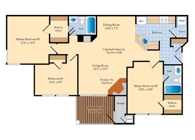 C1 3 Bed 2 Bath Floor Plan at The Fields at Cascades, Virginia, 20166