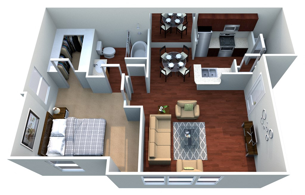 Bolton A-2, 1 Bed 1 Bath, 680 Sq. Ft. Floor Plan at Bardin Greene Apartments in Arlington, Texas