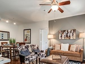 Living Room Design at Lost Spurs Ranch in Roanoke, Texas