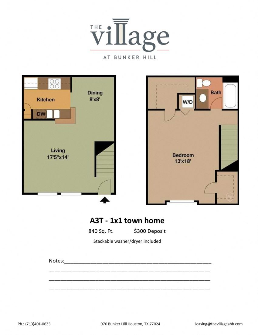 A3T 1x 1 Town Home Floor Plan at The Village at Bunker Hill Apartments near Houston, Texas