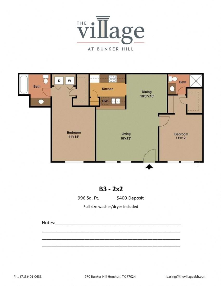 B3 2x2 Floor Plan at The Village at Bunker Hill Apartments near Houston, Texas