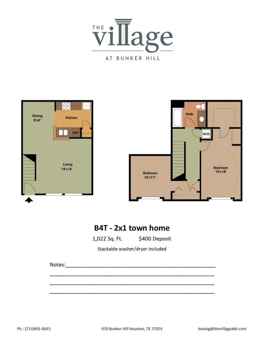 B4T 2x1 Town Home Floor Plan at The Village at Bunker Hill Apartments near Houston, Texas