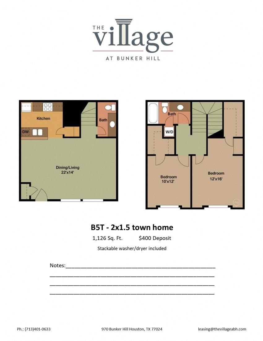 B5T 2x1.5 Town Home Floor Plan at The Village at Bunker Hill Apartments near Houston, Texas