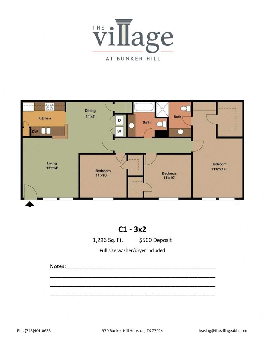 C1 3x2 Floor Plan at The Village at Bunker Hill Apartments near Houston, Texas