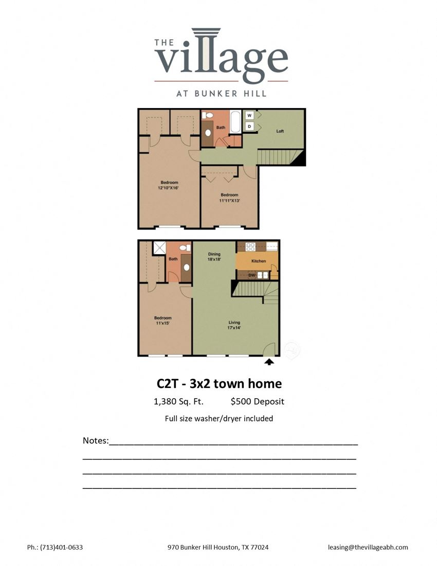 C2T 3x2 Town Home Floor Plan at The Village at Bunker Hill Apartments near Houston, Texas