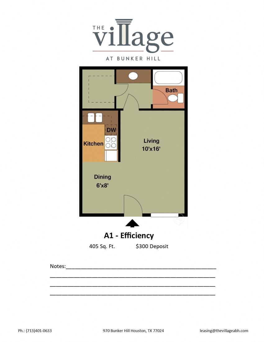 A1 Efficiency Floor Plan for The Village at Bunker Hill Apartments in Houston, Texas