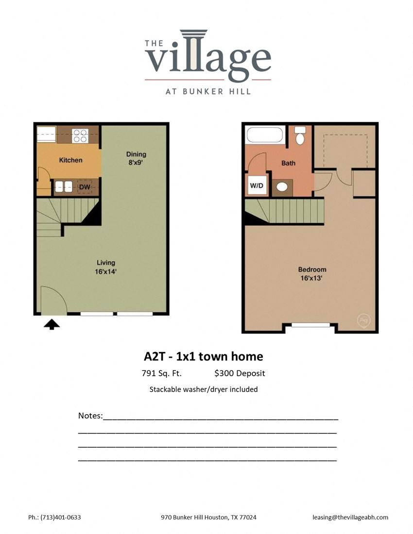 A2T 1x1 Town Home Floor Plan at The Village at Bunker Hill Apartments near Houston, Texas