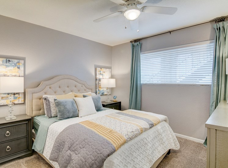 Master Bedroom With Carpeting at The Village at Bunker Hill in Houston, Texas