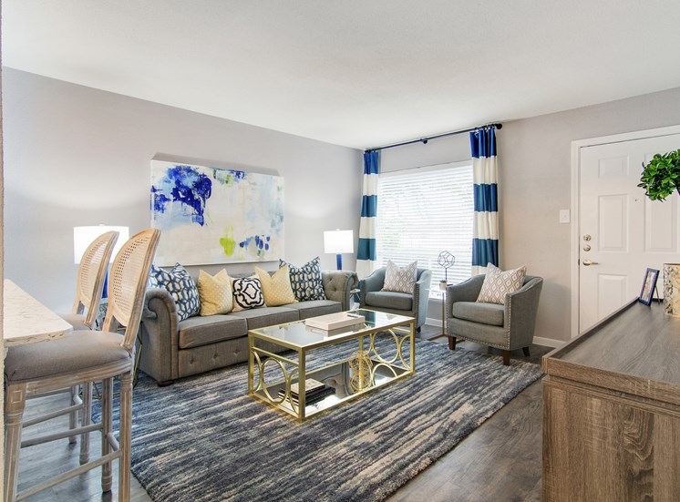 Spacious and Modern Living Room Professionally Designed at The Village at Bunker Hill in Houston, Texas