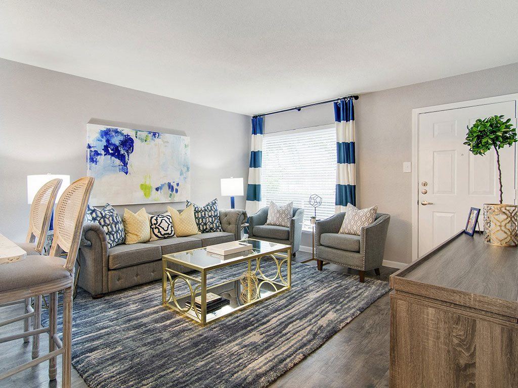 Living Room With Modern Design at The Village at Bunker Hill Apartments in Houston, Texas
