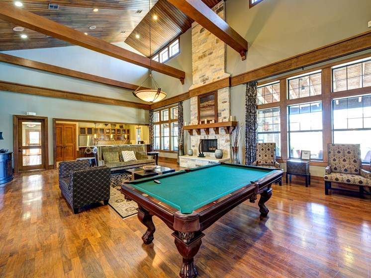 Clubhouse with Billiards Table at Broadstone Travesia, Austin, Texas