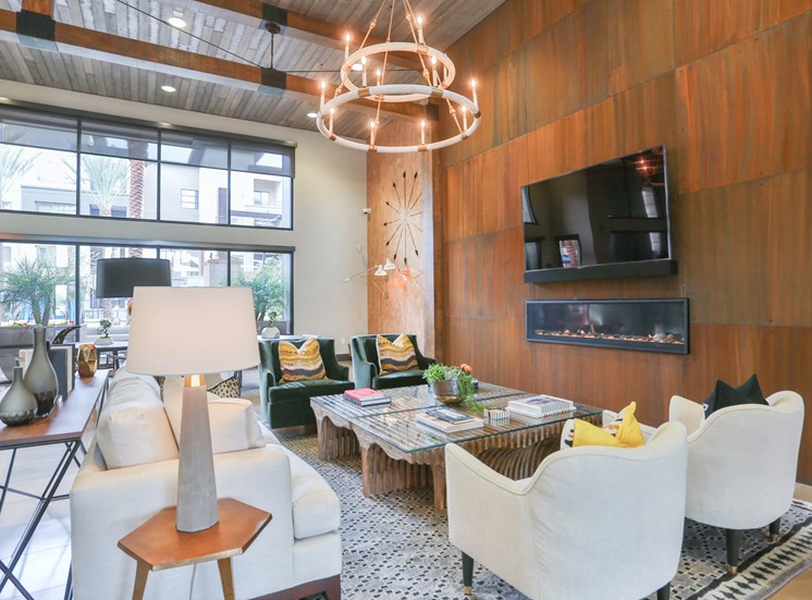 Clubhouse with TV, Fireplace, and Kitchen at Fashion Center, Chandler, AZ