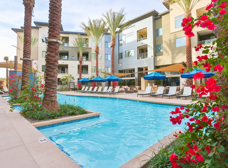 Resort-Style Pool and Spa with Poolside Cabanas at Fashion Center, Arizona