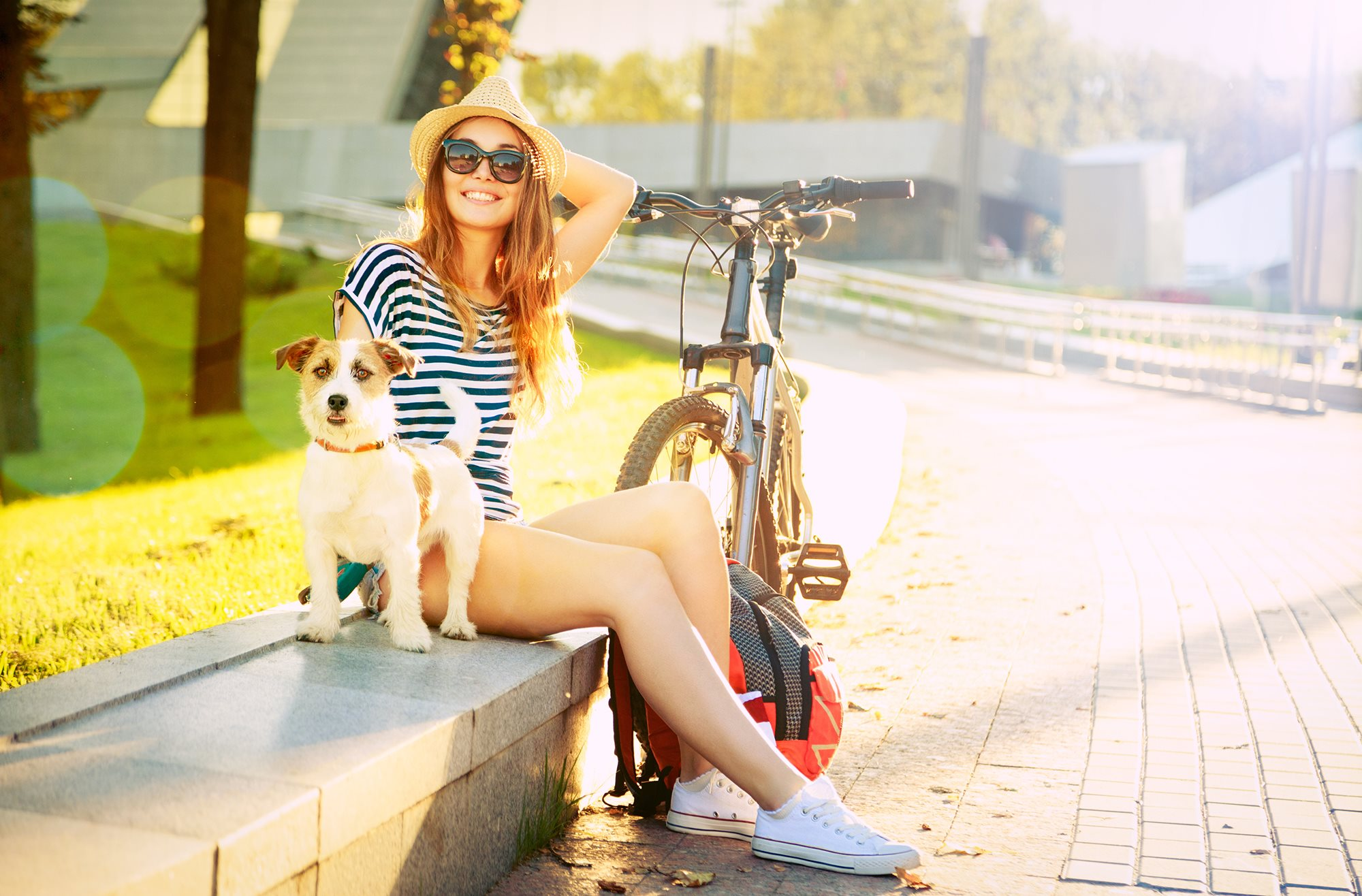 Girl Dog Bike Stock