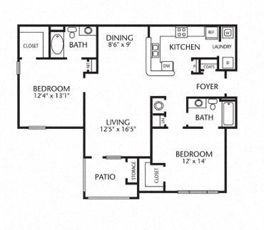 2x2  1097 Sq Ft 2 Bedroom 2 Bath Floor Plan 2