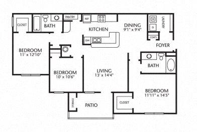 3x2 1277 Sq Ft 3 Bedroom 2 Bath Floor Plan 4